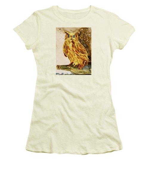 Women's T-Shirt (Junior Cut) featuring the painting Goldene Bier Eule by Beverley Harper Tinsley