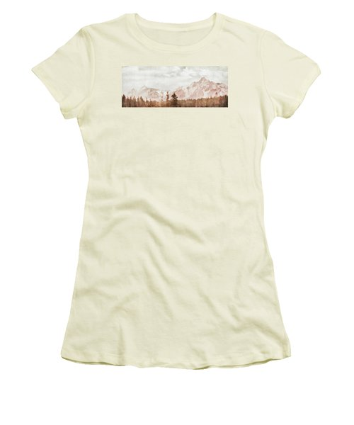Women's T-Shirt (Junior Cut) featuring the painting Grand Teton Mountains by Greg Collins