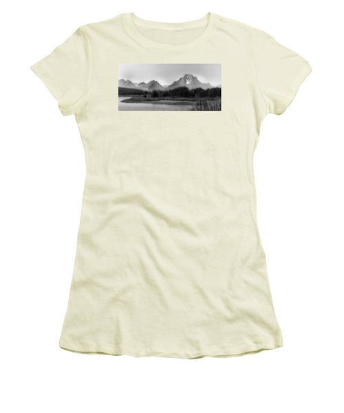 Women's T-Shirt (Junior Cut) featuring the photograph Grand Tetons Bw by Ron White