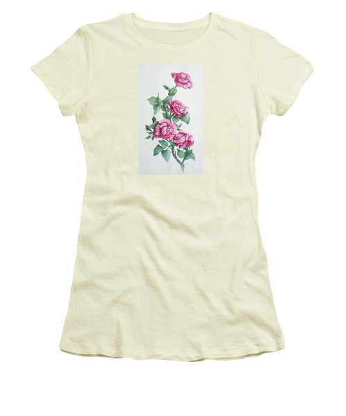 Women's T-Shirt (Junior Cut) featuring the painting Grandma Helen's Roses by Katherine Young-Beck