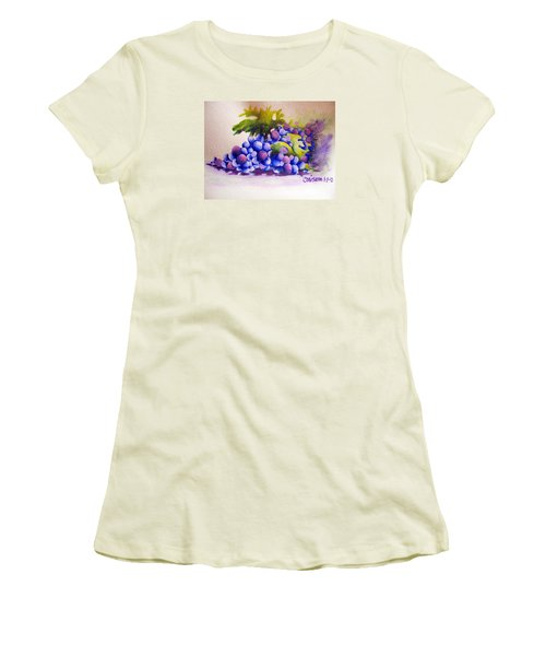 Women's T-Shirt (Junior Cut) featuring the painting Grapes by Chrisann Ellis