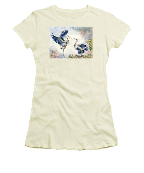 Great Blue Heron Couple Women's T-Shirt (Athletic Fit)