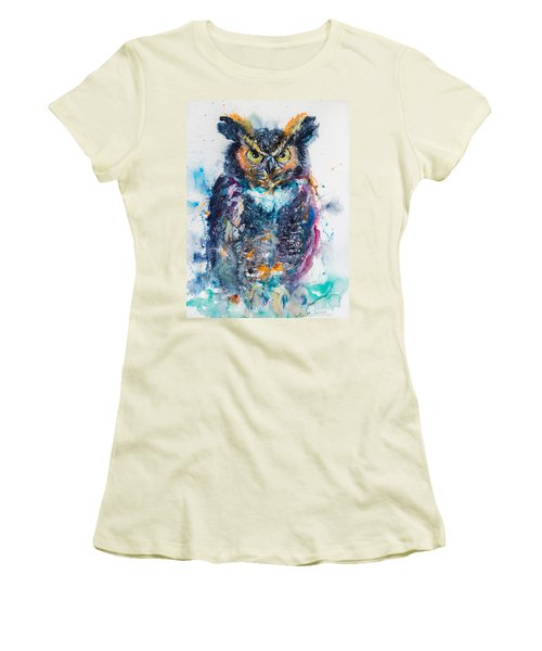 Great Horned Owl Women's T-Shirt (Junior Cut) by Kovacs Anna Brigitta