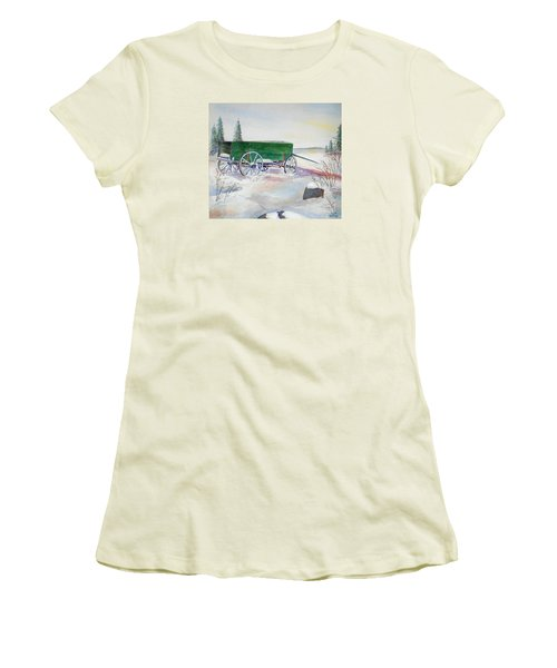 Green Wagon Women's T-Shirt (Junior Cut) by Christine Lathrop