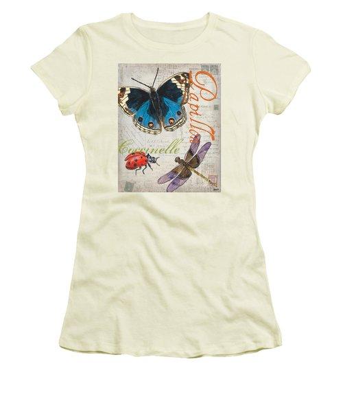 Grey Postcard Butterflies 4 Women's T-Shirt (Athletic Fit)
