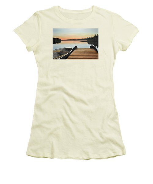 Women's T-Shirt (Junior Cut) featuring the painting Haliburton Dock by Kenneth M  Kirsch