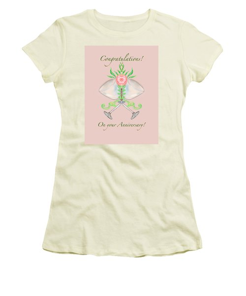Women's T-Shirt (Junior Cut) featuring the digital art Happy Anniversary 1 by Christine Fournier
