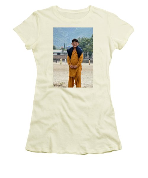 Women's T-Shirt (Junior Cut) featuring the photograph Happy Laughing Pathan Boy In Swat Valley Pakistan by Imran Ahmed