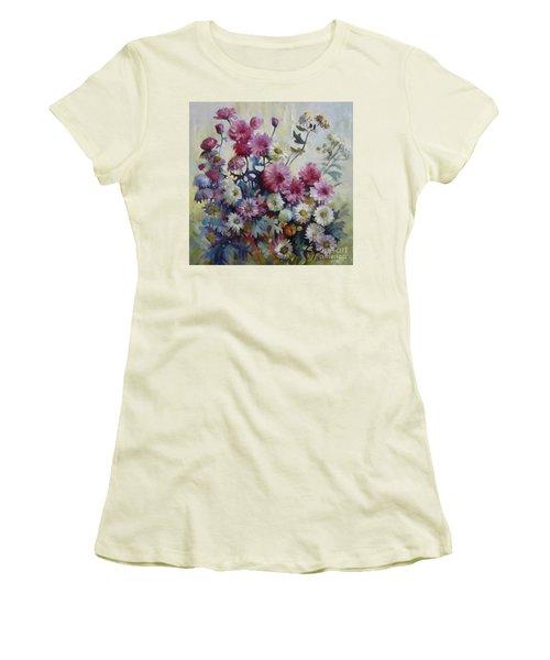 Women's T-Shirt (Junior Cut) featuring the painting Harmonies Of Autumn by Elena Oleniuc