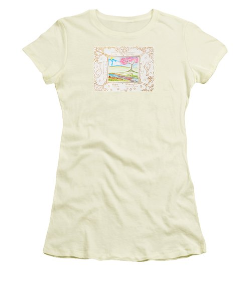 Women's T-Shirt (Junior Cut) featuring the painting He Restores My Soul by Cassie Sears