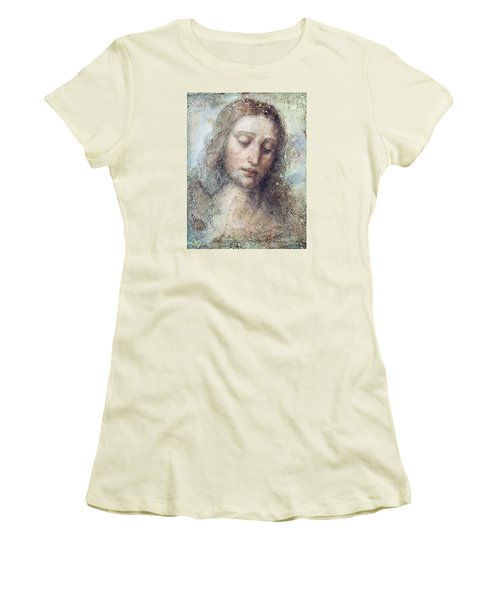 Women's T-Shirt (Junior Cut) featuring the drawing Head Of Christ Restoration Art Work by Karon Melillo DeVega