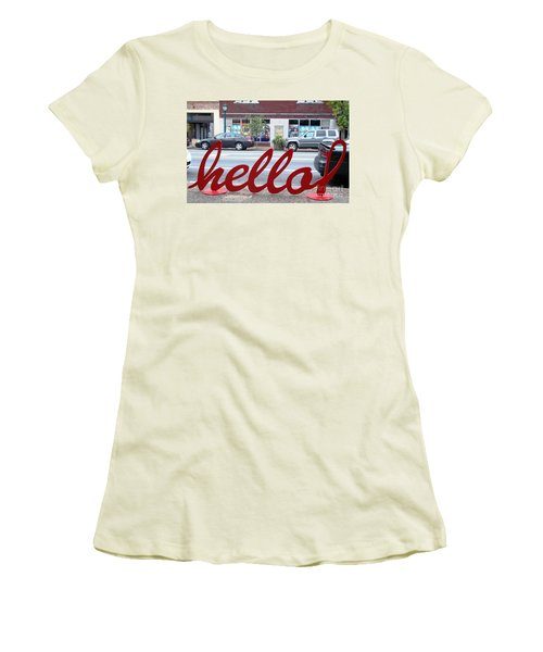 Women's T-Shirt (Junior Cut) featuring the photograph Hello by Kelly Awad