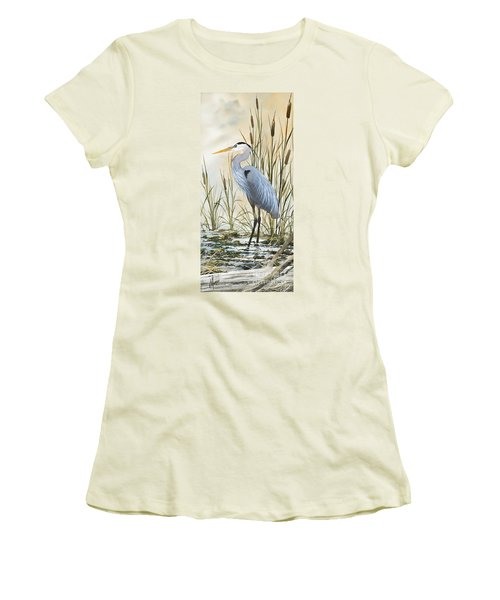 Heron And Cattails Women's T-Shirt (Junior Cut) by James Williamson