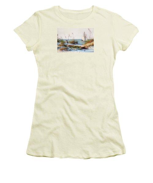 Heron And Sailboat Women's T-Shirt (Junior Cut) by Michael Thomas