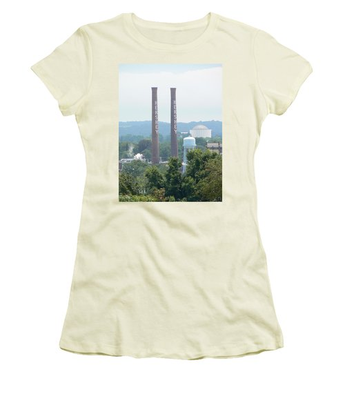 Women's T-Shirt (Junior Cut) featuring the photograph Hershey Smoke Stacks by Michael Porchik