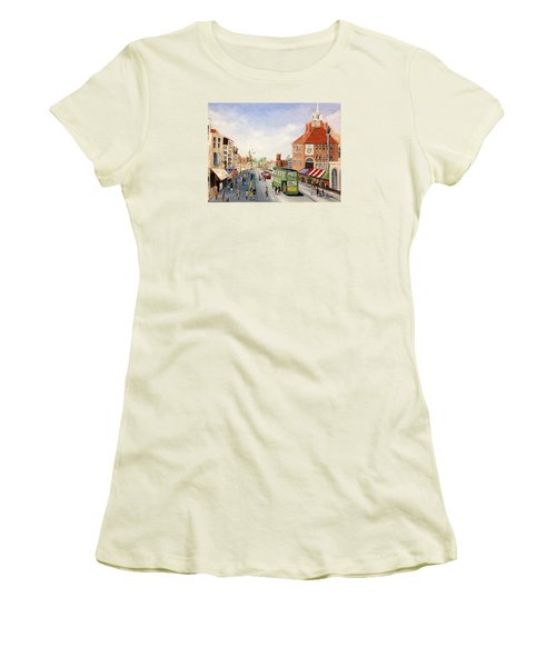 Women's T-Shirt (Junior Cut) featuring the painting High Street by Helen Syron