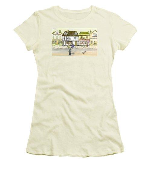 Women's T-Shirt (Junior Cut) featuring the painting High Street by Loredana Messina