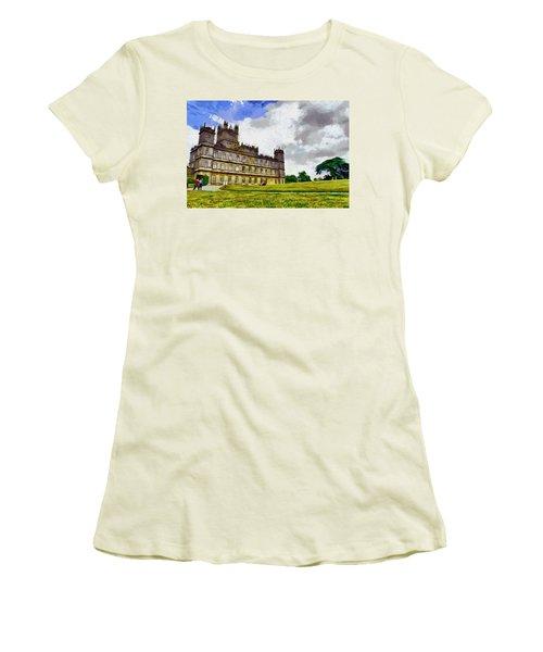 Women's T-Shirt (Junior Cut) featuring the painting Highclere Castle by Georgi Dimitrov