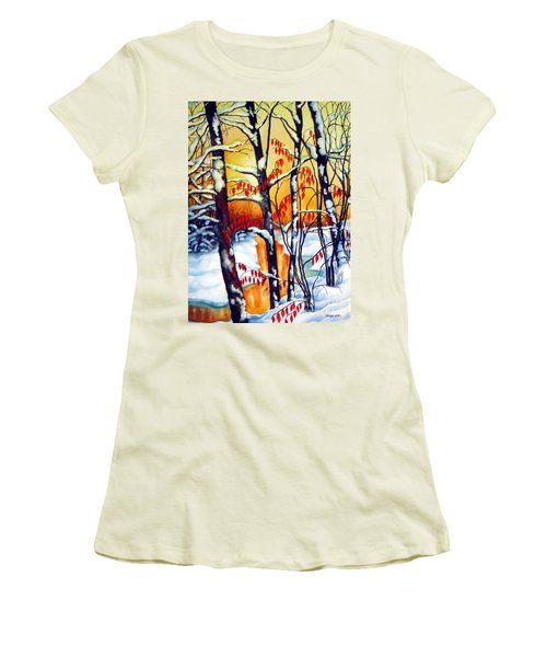 Women's T-Shirt (Junior Cut) featuring the painting Highland Creek Sunset 2  by Inese Poga