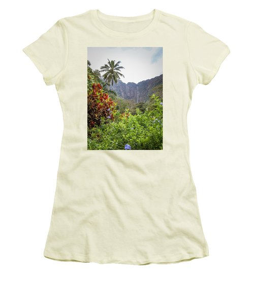 Hiilawe And Hakalaoa Falls Women's T-Shirt (Athletic Fit)