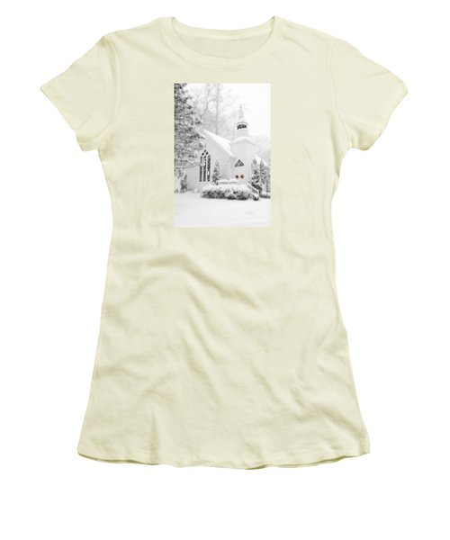 Women's T-Shirt (Junior Cut) featuring the photograph White Christmas In Oella Maryland Usa by Vizual Studio