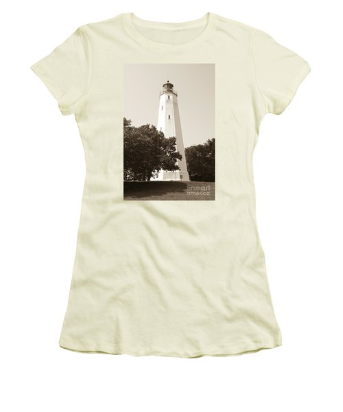Historic Sandy Hook Lighthouse Women's T-Shirt (Junior Cut) by Anthony Sacco
