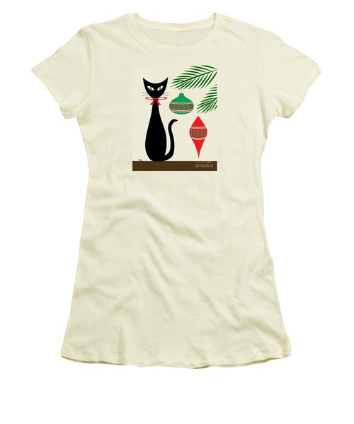 Holiday Cat On Cream Women's T-Shirt (Athletic Fit)