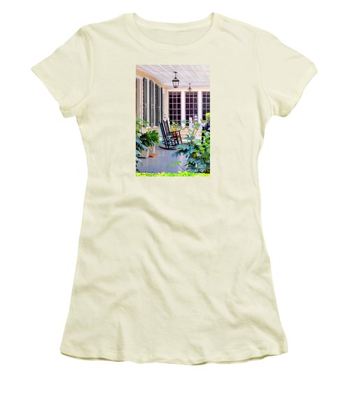 Veranda - Charleston, S C By Travel Photographer David Perry Lawrence Women's T-Shirt (Athletic Fit)