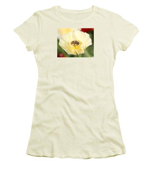 Honeybee On Cream Poppy Women's T-Shirt (Junior Cut) by Lucinda VanVleck