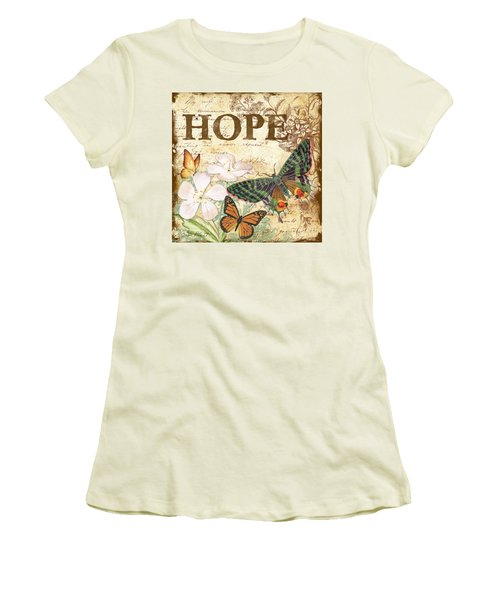 Hope And Butterflies Women's T-Shirt (Junior Cut) by Jean Plout