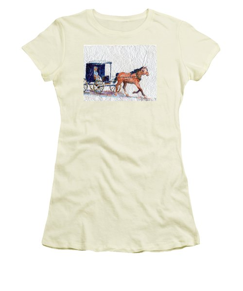 Women's T-Shirt (Junior Cut) featuring the painting Horse And Buggy by Mary Haley-Rocks