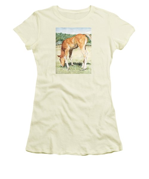 Horse Art Long-legged Colt Painting Equine Watercolor Ink Foal Rural Field Artist K. Joann Russell  Women's T-Shirt (Athletic Fit)