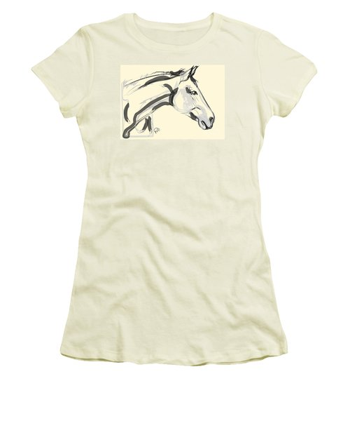 Women's T-Shirt (Junior Cut) featuring the painting Horse - Lovely by Go Van Kampen