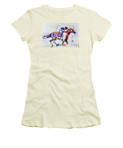 Horse Racing Print Women's T-Shirt (Athletic Fit)