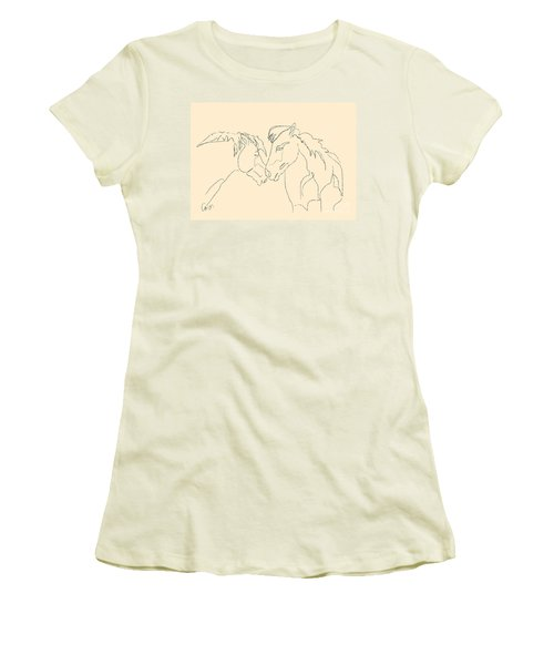 Women's T-Shirt (Junior Cut) featuring the painting Horse - Together 3 by Go Van Kampen