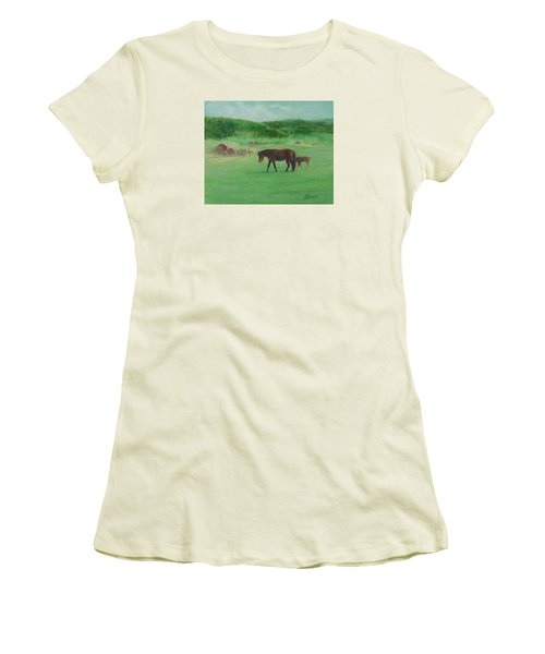 Horses Rural Pasture Western Landscape Original Oil Colorful Art Oregon Artist K. Joann Russell Women's T-Shirt (Athletic Fit)