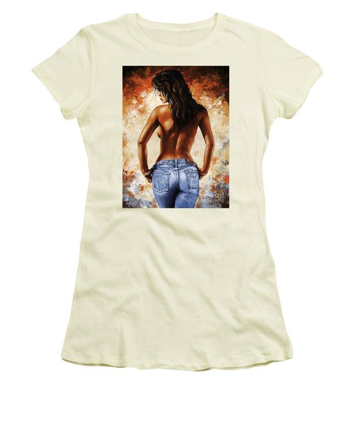 Hot Jeans 02 Blue Women's T-Shirt (Junior Cut) by Emerico Imre Toth