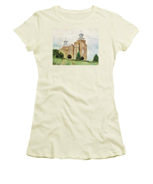 Women's T-Shirt (Junior Cut) featuring the painting House Of Defense by Greg Collins