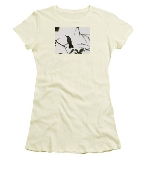 Women's T-Shirt (Junior Cut) featuring the photograph Hummingbird Silhouette 2 by Joy Hardee