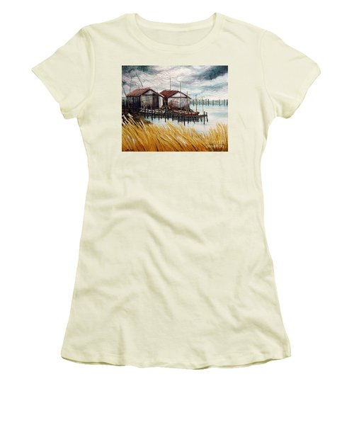 Women's T-Shirt (Junior Cut) featuring the painting Huts By The Shore by Joey Agbayani