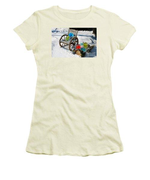 Women's T-Shirt (Junior Cut) featuring the photograph Ice Ball Art by Nina Silver