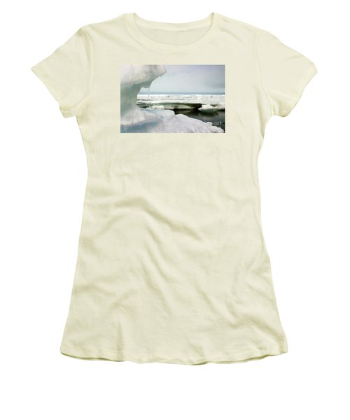 Women's T-Shirt (Junior Cut) featuring the photograph Ice Barrow Alaska July 1969 By Mr. Pat Hathaway by California Views Mr Pat Hathaway Archives
