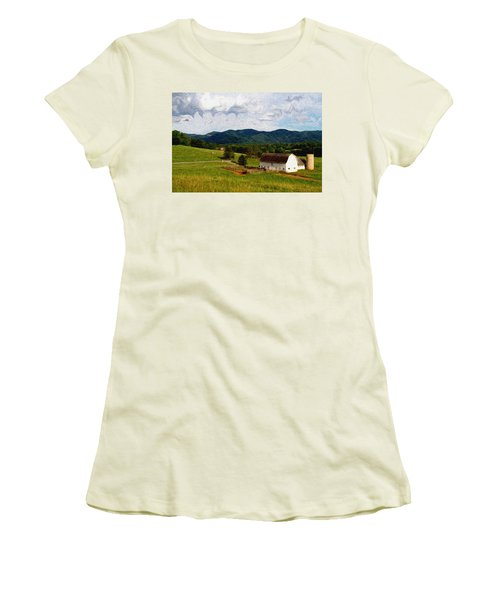Women's T-Shirt (Junior Cut) featuring the painting Impressionist Farming by John Haldane