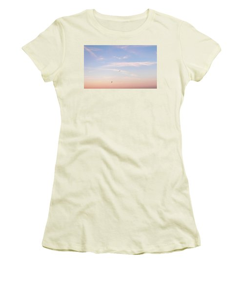 Women's T-Shirt (Junior Cut) featuring the photograph In Flight Over Rehoboth Bay by Pamela Hyde Wilson