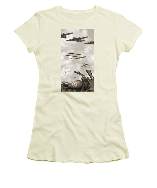 Indian 841 And The B-17 Panoramic Sepia Women's T-Shirt (Athletic Fit)