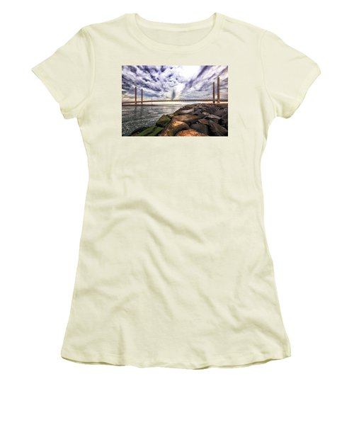Indian River Bridge Clouds Women's T-Shirt (Athletic Fit)
