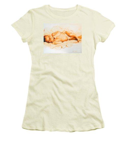 Women's T-Shirt (Junior Cut) featuring the painting Infant Awake by Greta Corens