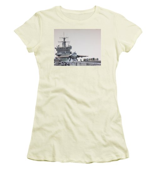 Women's T-Shirt (Junior Cut) featuring the painting Intruder by Stan Tenney