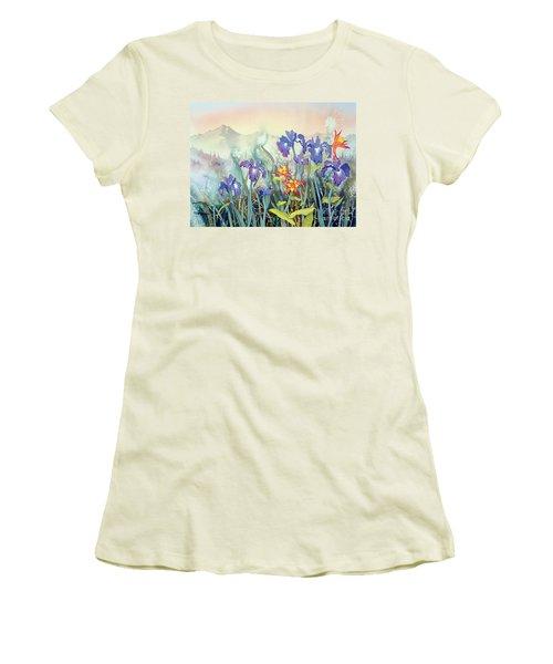 Women's T-Shirt (Junior Cut) featuring the painting Iris And Columbine II by Teresa Ascone