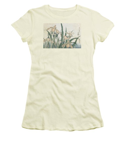 Iris Flowers And Grasshopper Women's T-Shirt (Junior Cut) by Hokusai